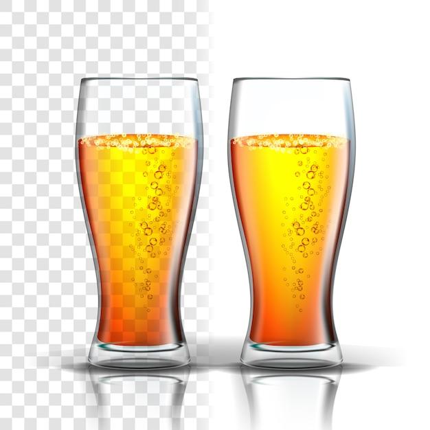 Realistyczne Szkło Z Bąbelkami Piwa Lager Premium Wektorów