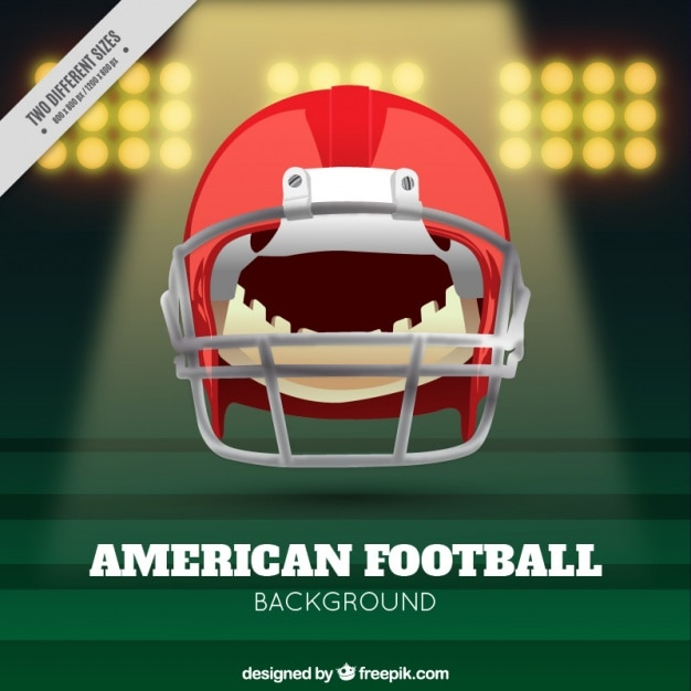 Realistyczne tło amerykański futbol z kaskiem Darmowych Wektorów