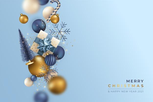Realistyczne Tło Boże Narodzenie Z Latającymi Ornamentami Darmowych Wektorów