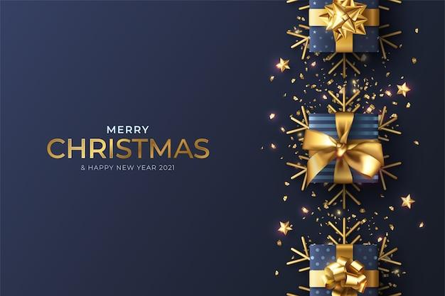 Realistyczne Tło Boże Narodzenie Z Niebieską Dekoracją Darmowych Wektorów