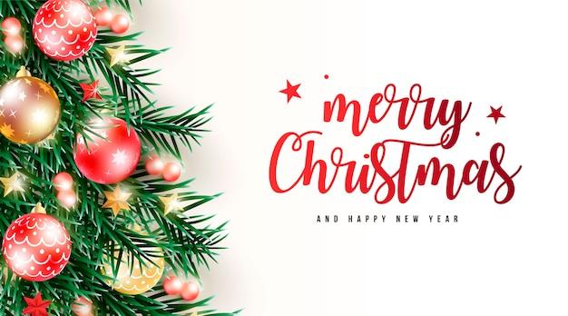 Realistyczne Tło Boże Narodzenie Z Zielonymi Gałązkami Darmowych Wektorów