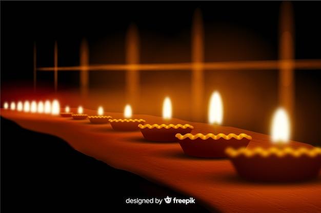 Realistyczne tło diwali ze świecami Darmowych Wektorów