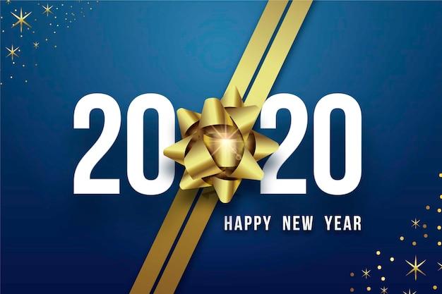 Realistyczne tło nowego roku 2020 z kokardą złoty prezent Darmowych Wektorów
