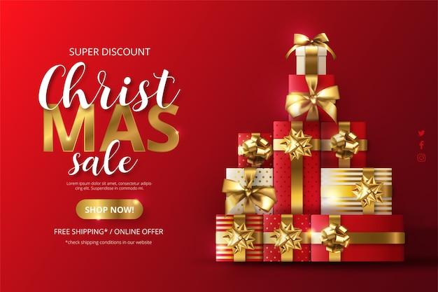 Realistyczne Tło Sprzedaż świąteczna Z Drzewem Z Prezentów Darmowych Wektorów