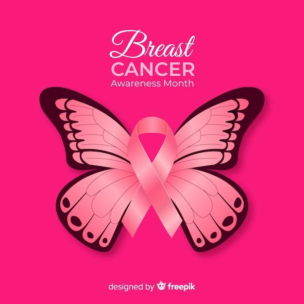 Realistyczne tło świadomości raka piersi motyl Darmowych Wektorów