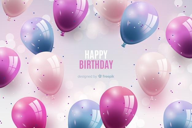 Realistyczne tło urodziny balon Darmowych Wektorów