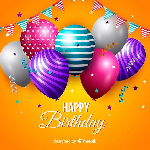 Realistyczne Tło Urodziny Szczęśliwy Darmowych Wektorów