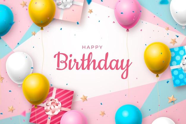 Realistyczne Tło Urodziny Z Pozdrowieniami Darmowych Wektorów