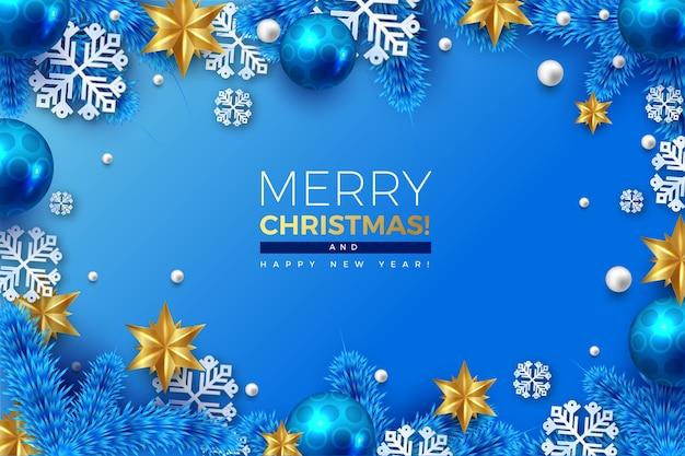 Realistyczne Tło Wesołych świąt Z Płatki śniegu I Wiszące Kulki Darmowych Wektorów