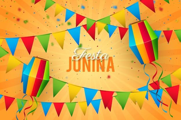 Realistyczne Tradycyjne Wydarzenie Festa Junina Darmowych Wektorów