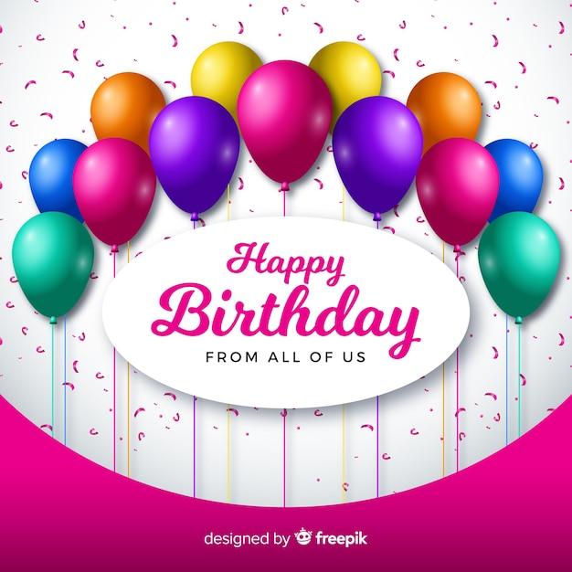 Realistyczne urodziny z balonów tło Darmowych Wektorów
