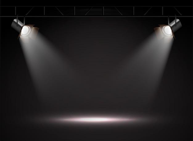 Realistyczne Wektorowe światła Punktowe W Ciemności. Premium Wektorów