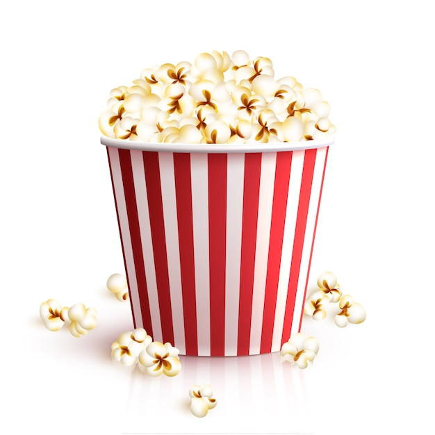 Realistyczne Wiadro Popcornu Premium Wektorów