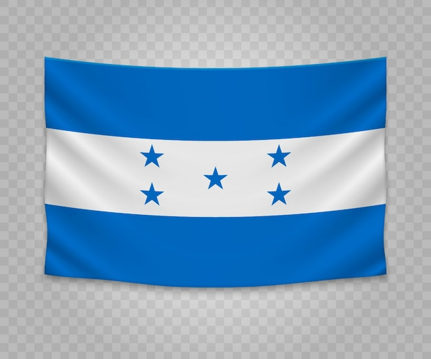 Realistyczne wiszące flagi hondurasu Premium Wektorów