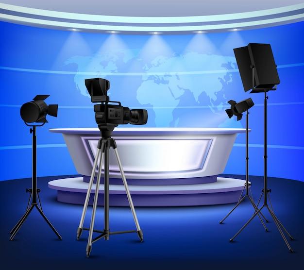 Realistyczne wnętrze blue news studio Darmowych Wektorów