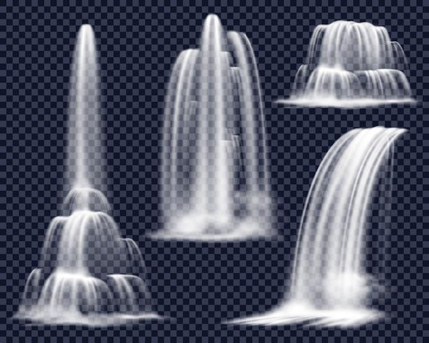 Realistyczne wodospady na przezroczystym tle zestaw Darmowych Wektorów