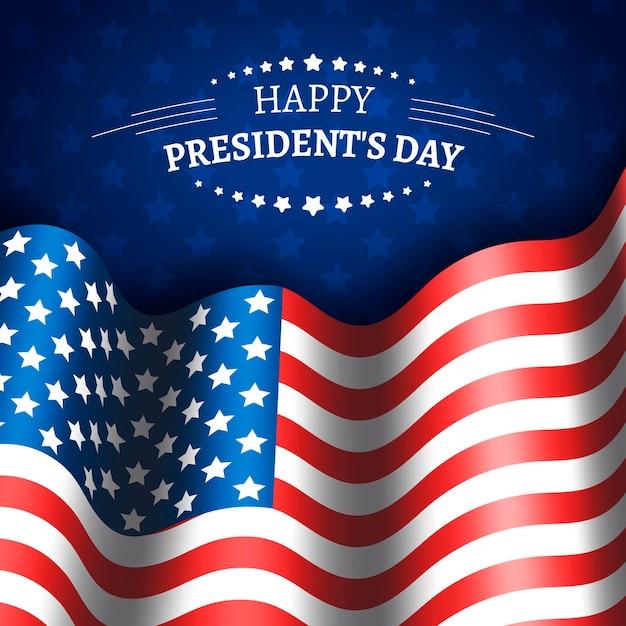 Realistyczne Wydarzenie Z Okazji Dnia Prezydenta Flagi Darmowych Wektorów