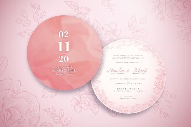 Realistyczne Zaproszenie Na ślub Z Ozdobami Darmowych Wektorów