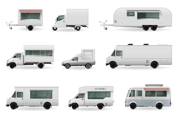 Realistyczne zestaw food trucks Darmowych Wektorów