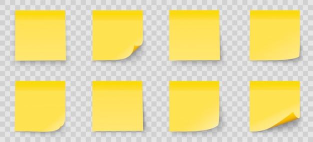 Realistyczne Zestaw Uwaga Stick Na Przezroczystym Tle. żółty Kolor. Kolekcja Post It Notes Z Cieniem Premium Wektorów