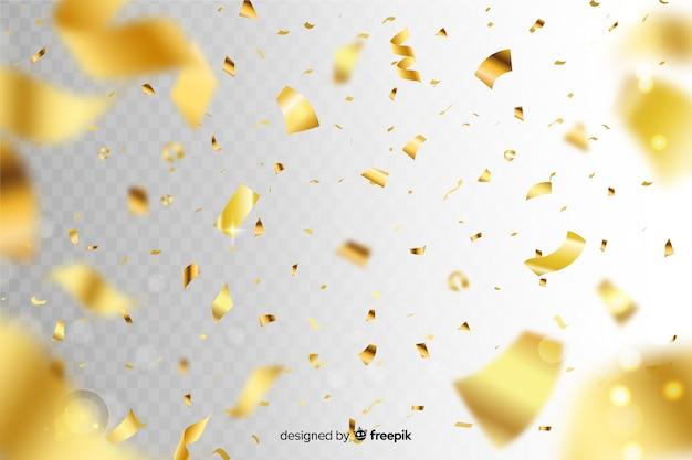 Realistyczne złote konfetti tło Darmowych Wektorów