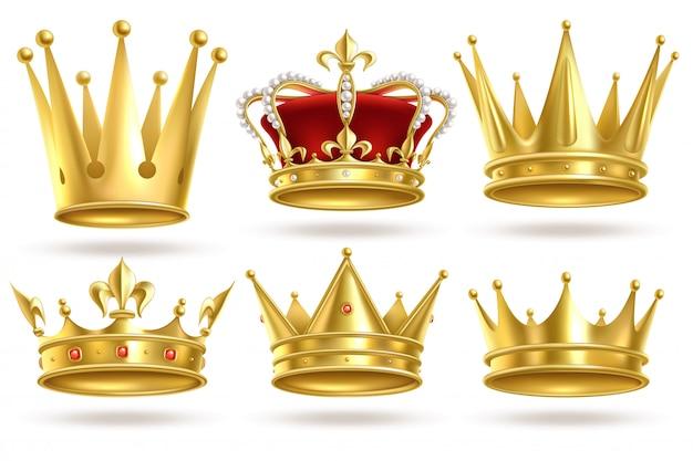 Realistyczne Złote Korony. Król, Książę I Królowa Złota Korona I Diadem Królewski Heraldyczny Wystrój Znaki Monarchy Premium Wektorów