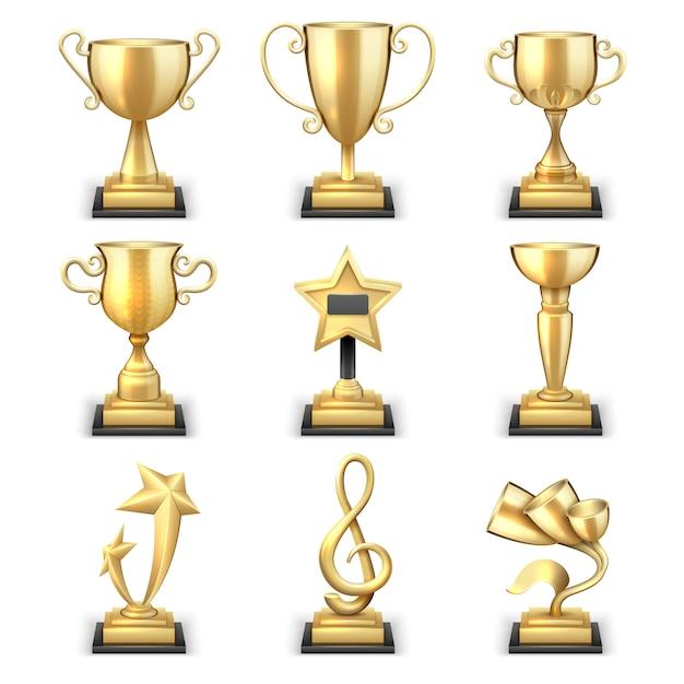 Realistyczne złote trofeum kubki i wektor zestaw nagród sportowych. nagroda sportowa triumph i nagroda, ilustracja zwycięzca trofeum złoty puchar Premium Wektorów