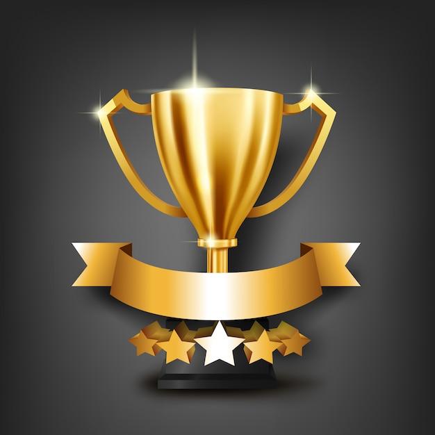 Realistyczne złote trofeum z miejscem na tekst na złotą wstążką Premium Wektorów