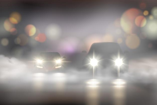 Realistyczni Samochodowi światła W Mgła Składzie Z Dwa Samochodami Na Drodze I Bokeh Tekstury Ilustraci Darmowych Wektorów
