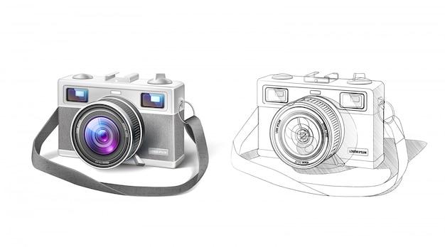 Realistyczny Aparat Fotograficzny W Stylu Vintage Z Obiektywem Makro I Planem Premium Wektorów