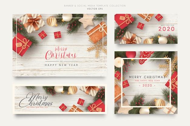 Realistyczny baner świąteczny i kolekcja szablonów mediów społecznościowych Darmowych Wektorów