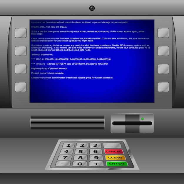 Realistyczny Bankomat Z Klawiaturą I Niebieskim Komunikatem O Błędzie Bsod Na Wyświetlaczu Premium Wektorów