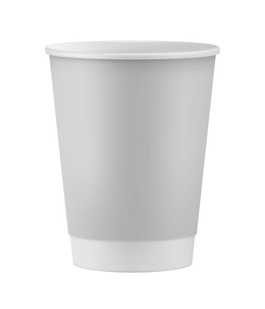 Realistyczny biały papierowy kubek Premium Wektorów