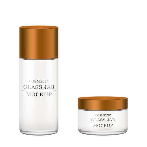 Realistyczny Biały Szklany Słoik Z Brązową Plastikową Pokrywką Na Kosmetyki Premium Wektorów