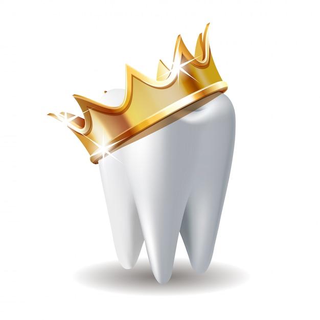 Realistyczny Biały Ząb W Złotej Koronie Na Białym Tle Premium Wektorów