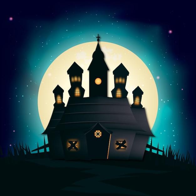 Realistyczny Dom Halloween Darmowych Wektorów