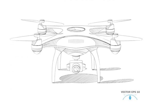 Realistyczny Dron Czteroosobowy Z Planem Aparatu Premium Wektorów