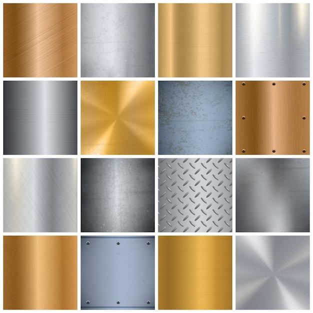 Realistyczny duży zestaw metalowych tekstur Darmowych Wektorów