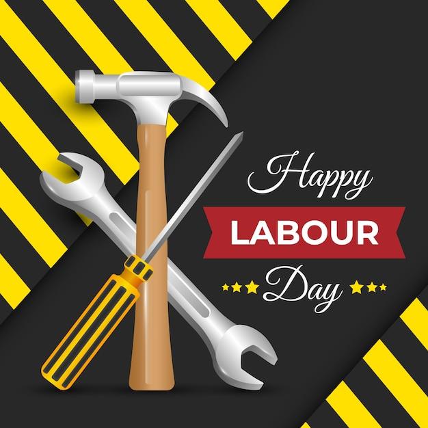Realistyczny Dzień Pracy Z Narzędziami Darmowych Wektorów