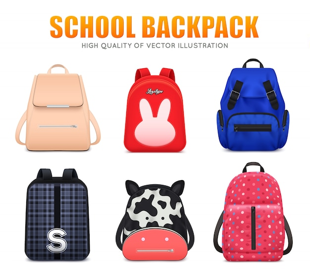 Realistyczny Edukacja Szkolna Plecaka Torby Bagaż Ustawiający Sześć Odizolowywających Szkolnych Plecaków Różna Kształta I Koloru Wektoru Ilustracja Darmowych Wektorów
