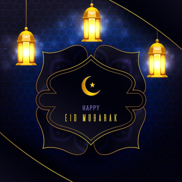 Realistyczny Eid Mubarak Z Latarniami Darmowych Wektorów