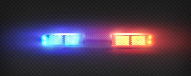 Realistyczny Flasher Prowadzony Przez Policję Premium Wektorów