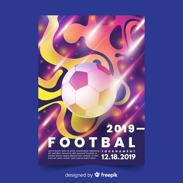 Realistyczny gradientowy futbolowy plakatowy szablon Darmowych Wektorów