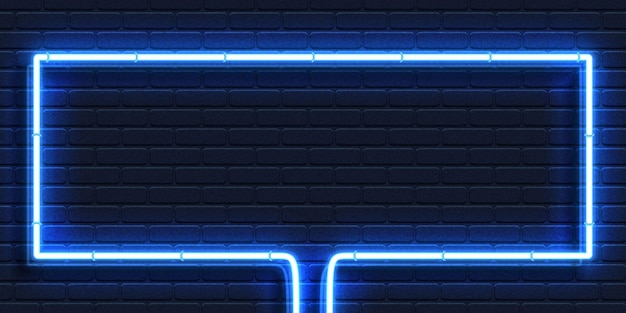 Realistyczny Izolowany Neonowy Znak Niebieskiej Prostokątnej Ramki Dla Szablonu I Układu Na Tle ściany. Premium Wektorów