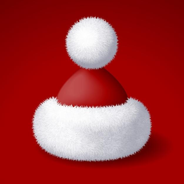 Realistyczny Kapelusz Santa Z Białym Futrem Na Białym Tle Na Czerwonym Tle. Kolory Rgb Global Premium Wektorów