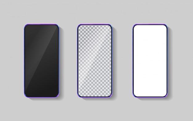 Realistyczny Kolorowy Smartfon 3d. Szablon Do Infografiki I Projektowania Interfejsu Użytkownika. Ramka Telefonu Z Pustym Wyświetlaczem Na Białym Tle Szablonów. Premium Wektorów
