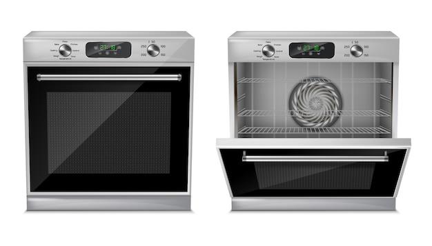 Realistyczny kompaktowy piekarnik z cyfrowym wyświetlaczem, timerem, gotowymi programami gotowania Darmowych Wektorów