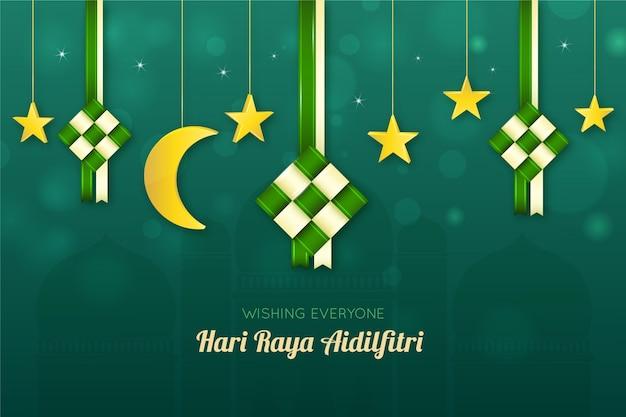 Realistyczny Księżyc I Gwiazdy Hari Raya Aidalfitri Darmowych Wektorów