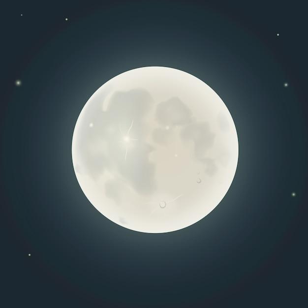 Realistyczny Księżyc W Nocy Premium Wektorów