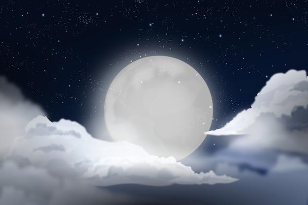 Realistyczny Księżyc W Pełni Projekt Tła Nieba Premium Wektorów